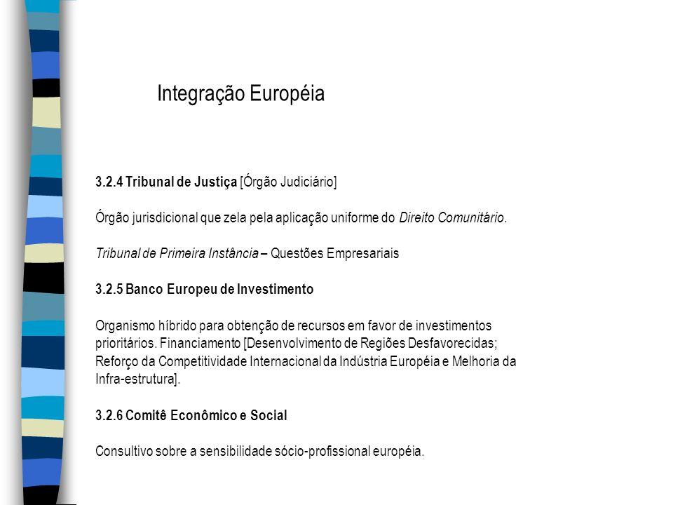 Integração Européia 3.2.4 Tribunal de Justiça [Órgão Judiciário]